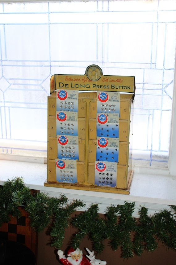 De Long Buttons Store Display Cabinet Vintage 1930s