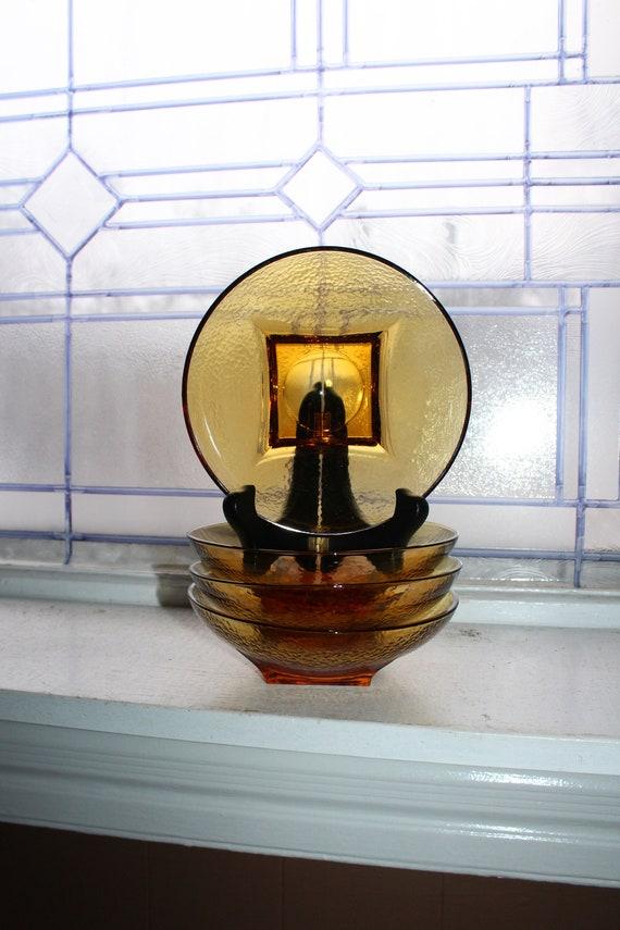 4 Vintage Textured Amber Glass Cereal Bowls Square Base