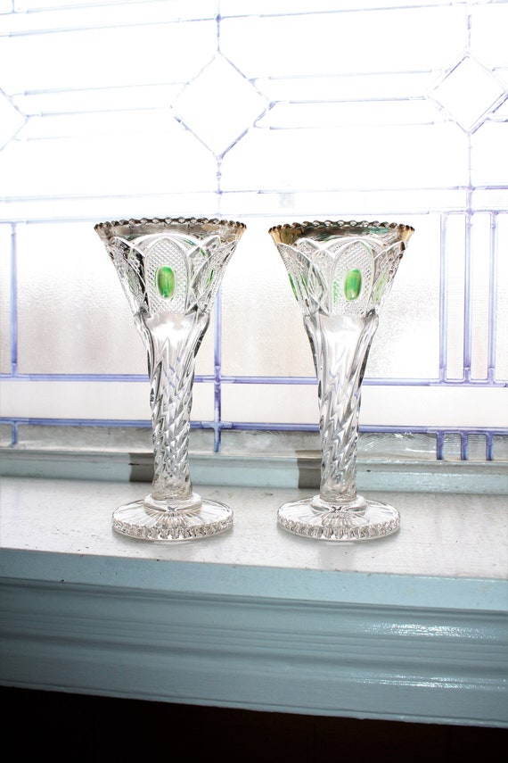 Antique EAPG Glass Trumpet Vases Pair New Hampshire by US Glass 1903