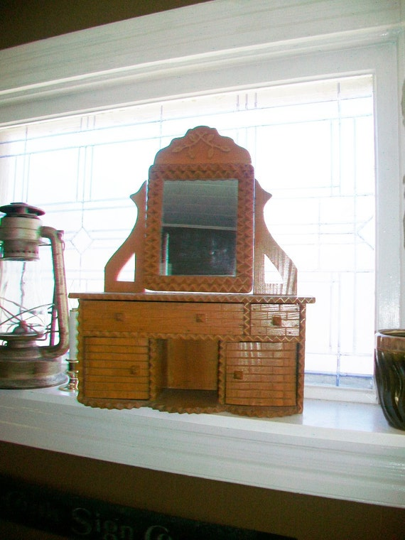 Large Antique Tramp Art Toy Dresser Hand Carved 20.5 Inches High