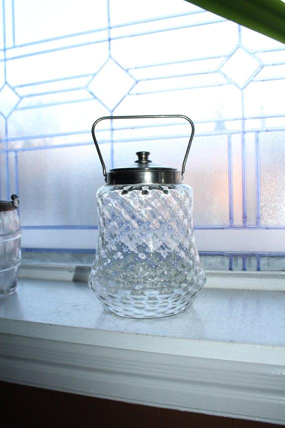 Antique Crystal and Silverplate Biscuit Barrel Cookie Jar
