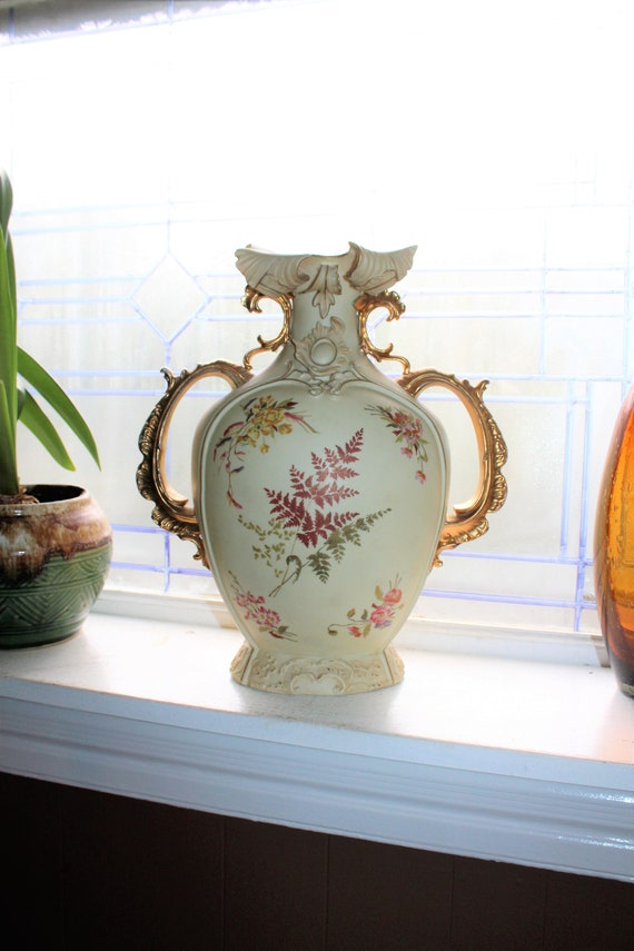 Large Ornate Victorian Vase RW Rudolstadt with Leaf Decoration 13 1/2""