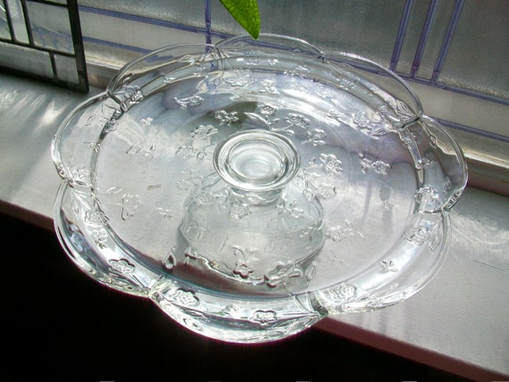 Vintage Glass Cake Stand Dessert Stand Floral Decoration and Scalloped Rim