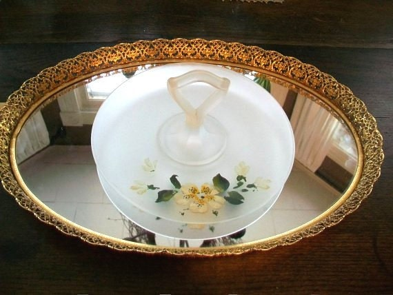 Vintage Satin Glass Tid Bit Tray with Center Handle & Yellow Flowers