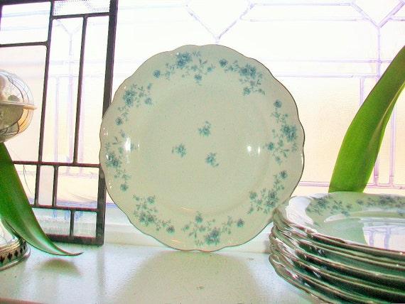 Set of 4 Johann Haviland Blue Garland Dinner Plates Vintage Bavarian Germany 5 Available