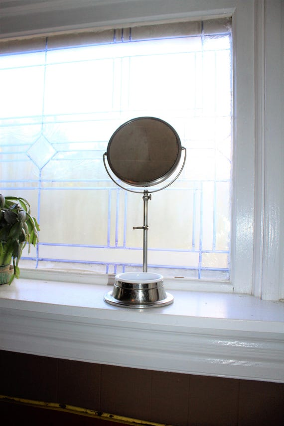 Antique Apollo Shaving Mirror On Stand with Milk Glass Soap Holder