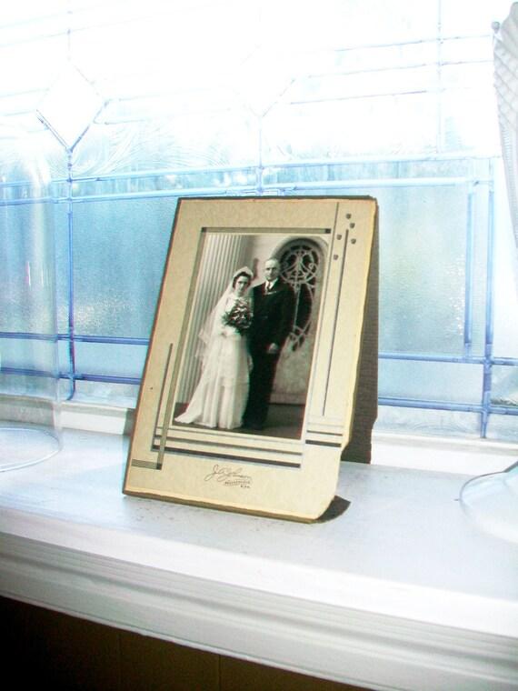Wedding Portrait Vintage Art Deco Photograph and Frame 1930s