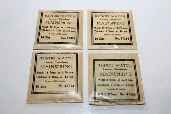 4 Illinois Watch Mainsprings Watch Repair Vintage Parts