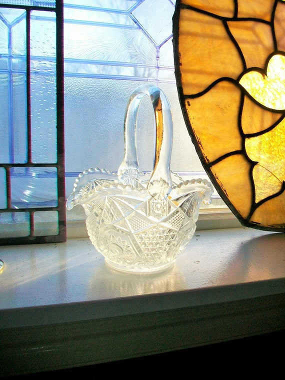 Pressed Glass Brides Basket EAPG Vintage 1930s