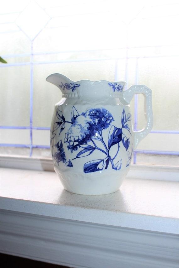 Antique Ironstone Milk Pitcher Blue Transferware Flowers 1800s Ridgways