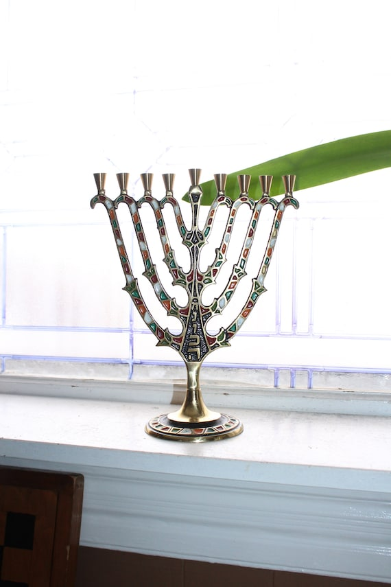 Vintage Jewish Menorah Made in Israel Brass and Polychrome Enamel