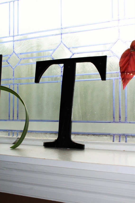 Vintage Reclaimed Sign Letter T Black Plastic 11""