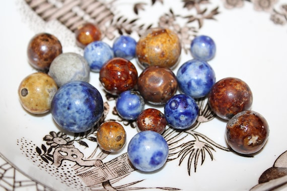 19 Antique Bennington Pottery Marbles Brown and Blue Circa Late 1800s