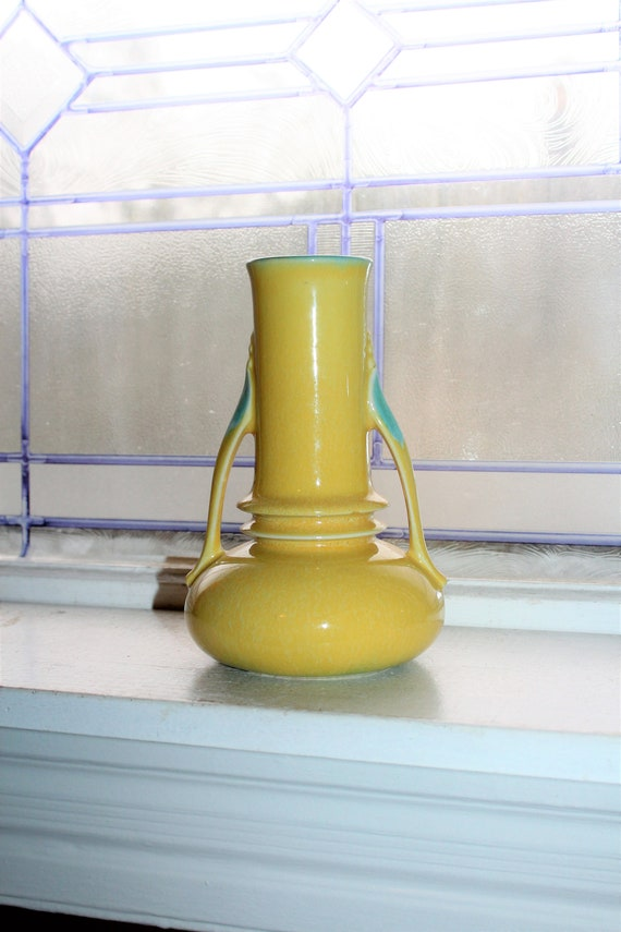 Roseville Orian Vase Yellow and Turquoise Vintage 1930s Pottery