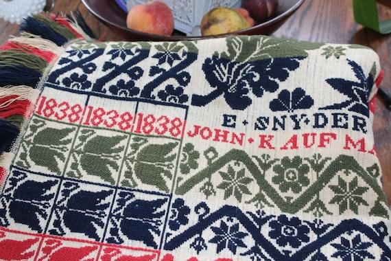Antique Coverlet 1838 John Kaufman Red Blue Green White Reversible