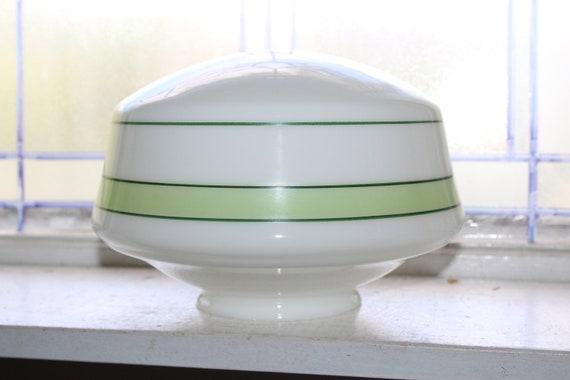 Vintage Milk Glass Ceiling Light Fixture Globe Shade Green Stripes