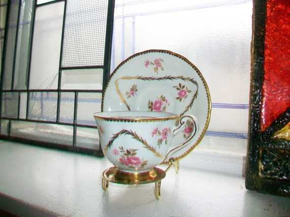 Vintage Royal Chelsea Teacup and Saucer Pink Flowers and Gold Trim Fine Bone China