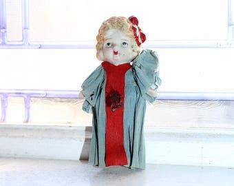 Vintage Doll Frozen Charlotte with Crepe Paper Dress