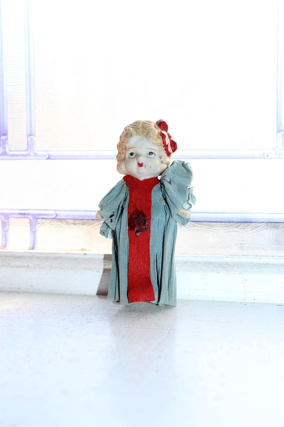 Vintage Doll Frozen Charlotte with Crepe Paper Dress
