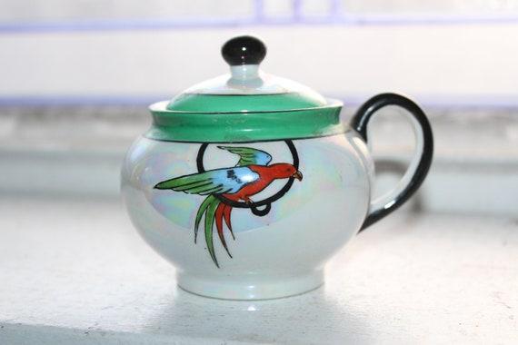 Art Deco Noritake Lusterware Parrot Jam Pot Condiment Vintage 1920s