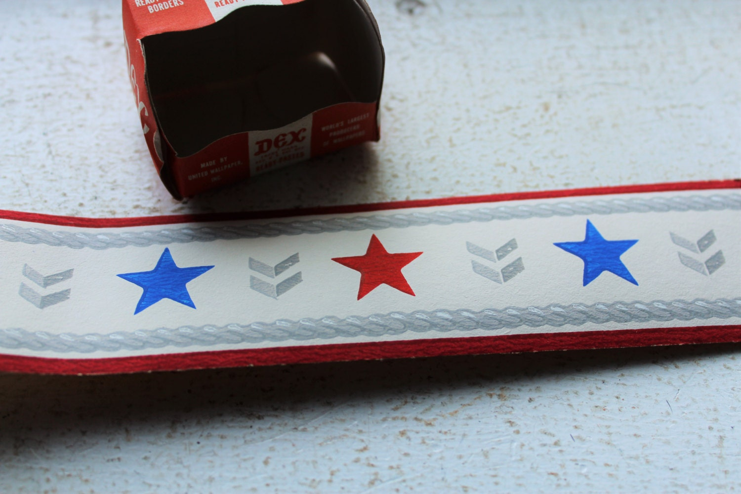 Vintage 1940s Wallpaper Border Red White and Blue Stars and Chevrons ...