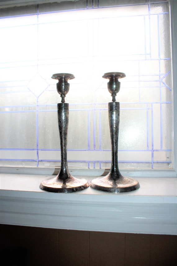 Large Hammered Silverplate Candlesticks Pair International Silver