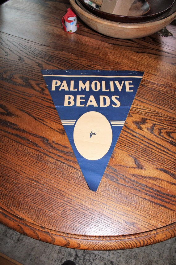 Vintage Palmolive Beads Store Banner Sign 1930s