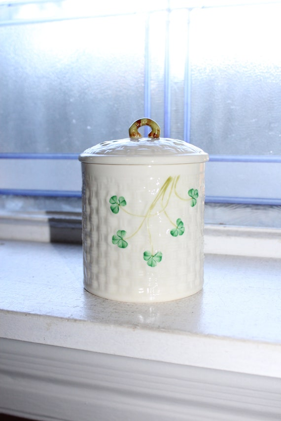 Vintage Irish Belleek Jam Jar 3rd Green Mark Shamrocks 1960s