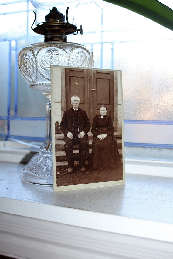 Antique Cabinet Card Photograph Elderly Couple 1800s