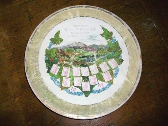 Vintage 1909 Calendar Plate Steele, ND Wehlitz Dept. Store