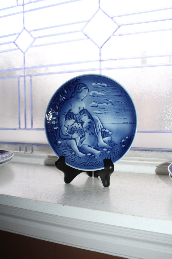 Mothers Day 1975 Georg Jensen Plate Vintage Blue and White