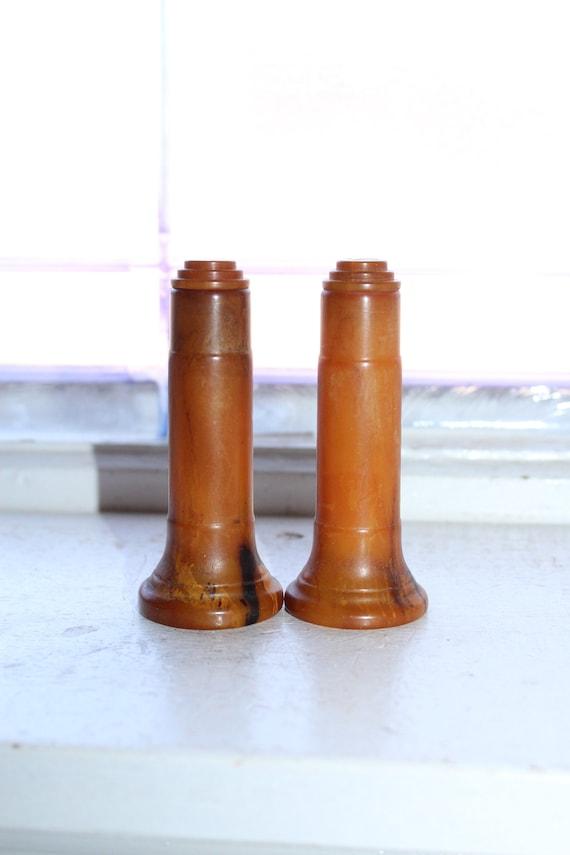 Vintage Salt and Pepper Shakers Brown Bakelite 1920s