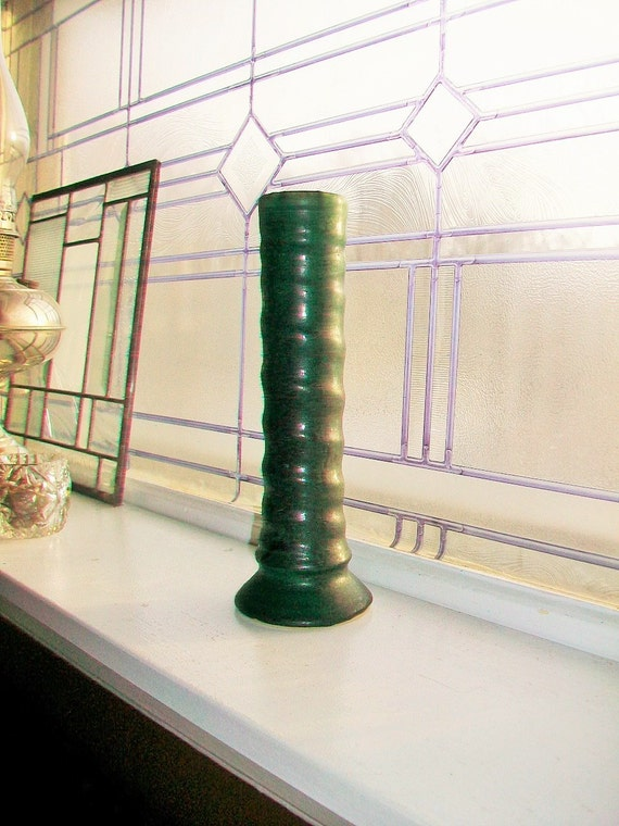 Zanesville Stoneware Vase Arts and Crafts Dark Green Art Pottery
