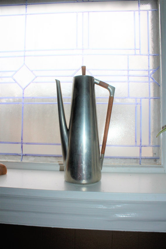 Mid Century Pewter and Teak Wood Coffee Pot Vintage 1950s