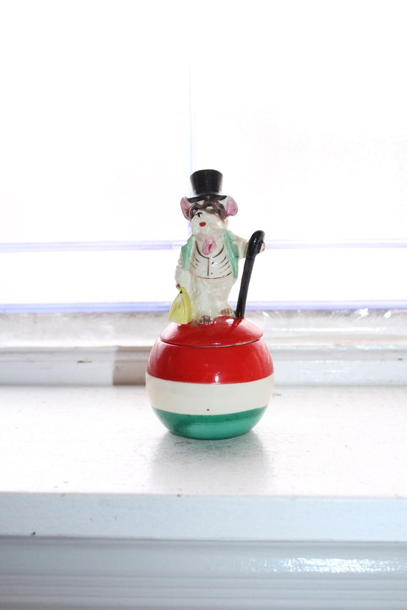 Vintage Stacking Salt and Pepper Shakers Dog in Top Hat on Ball