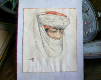 1940s Watercolor Morrocan Man by Hans Kleiss Vintage Painting Listed Artist
