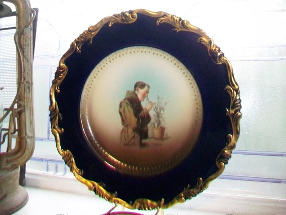 Rosenthal Monk Plate Cobalt Blue and Gold Trim Antique 1910s Alice Mold Friar Plate