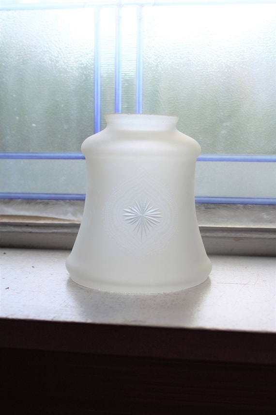 Antique Light Shade Frosted Glass Etched Star Decoration