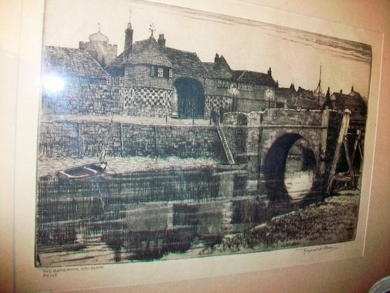 Vintage Etching Reginald Green 1960s Barbican Gate Sandwich Kent Artist Signed
