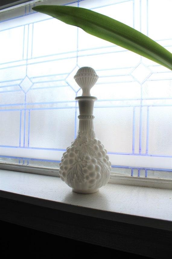 Vintage Milk Glass Decanter Grapes Pattern