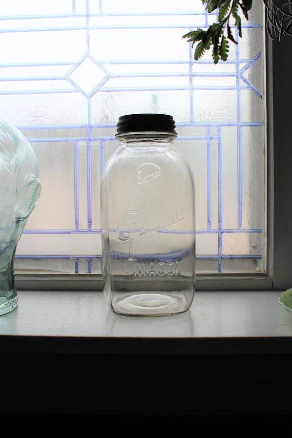 Vintage Samco Genuine Mason Half Gallon Jar Square Clear Glass