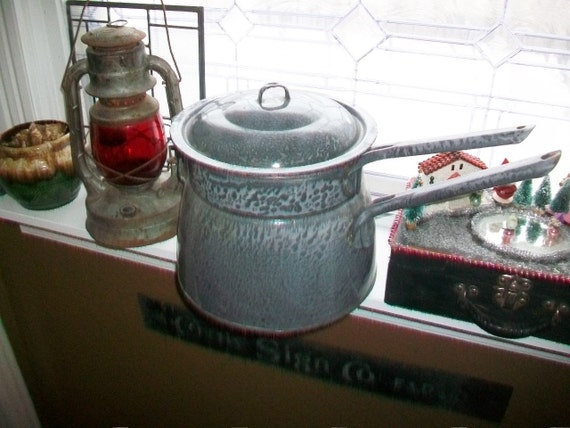 Large Gray Graniteware Double Boiler Antique Country Kitchen Decor