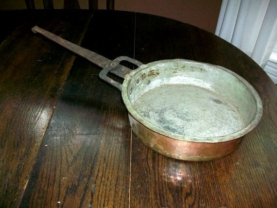Vintage Copper Pan w/ Tin Lining Hand Forged Primitive