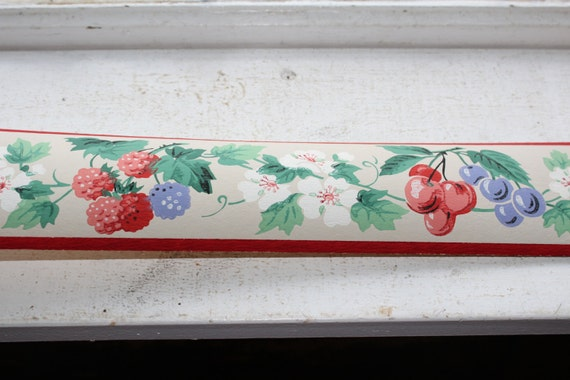 Vintage 1950s Wallpaper Border Berry Blossom Dex Brand Unused Wall Paper