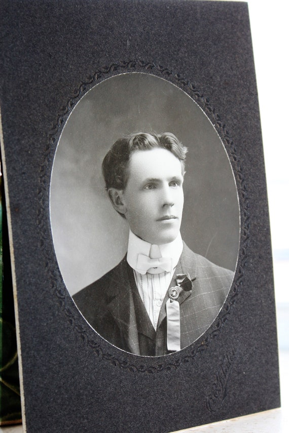 Antique Photograph Handsome Young Edwardian Man 1800s Cabinet Card
