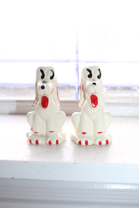 Vintage Walt Disney Pluto Dogs Salt and Pepper Shakers 1930s
