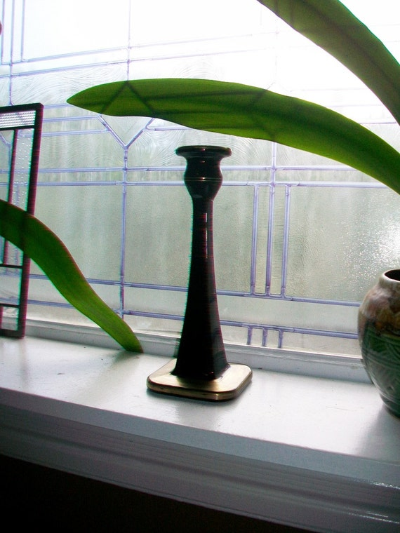 Vintage Black Amethyst Glass Candlestick Large and Heavy