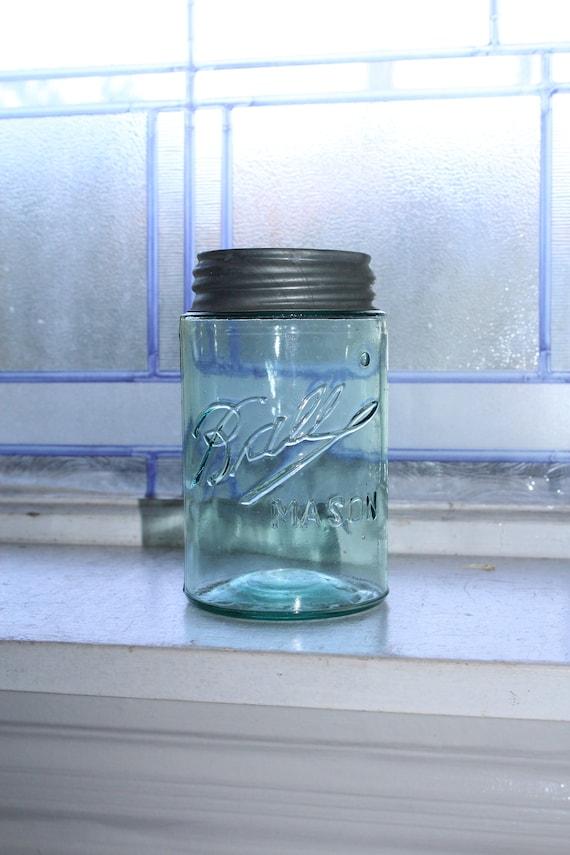 Vintage Blue Ball Mason Jar Pint Three L Logo Straight Sided