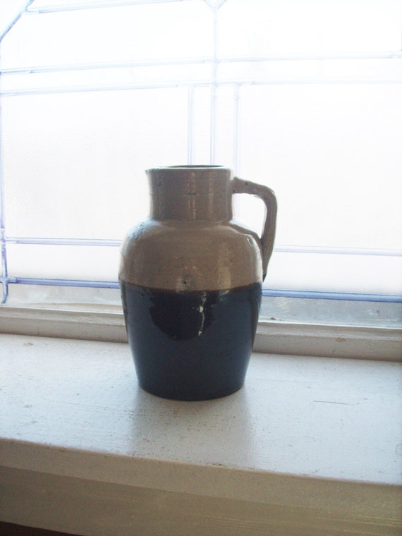 Antique 1800s Brown and White Stoneware Syrup Pitcher
