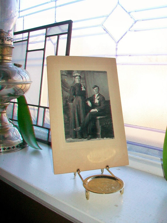 Antique Photograph Victorian Wedding Portrait 1800s Cabinet Card Mennonite Couple